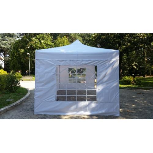gazebo tenda pieghevole 6x3 bianco pvc full optional